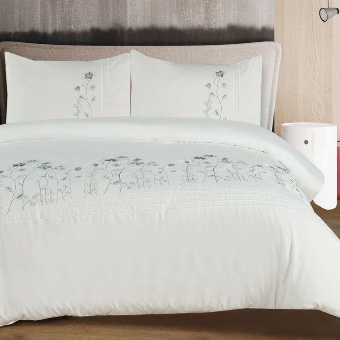 Soft Touch Embroidered Duvet Cover Set - Blossom - CQ Linen