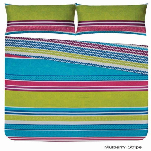 Microfibre Printed Comforter Set - Mulberry Stripe - CQ Linen Quality Bedding