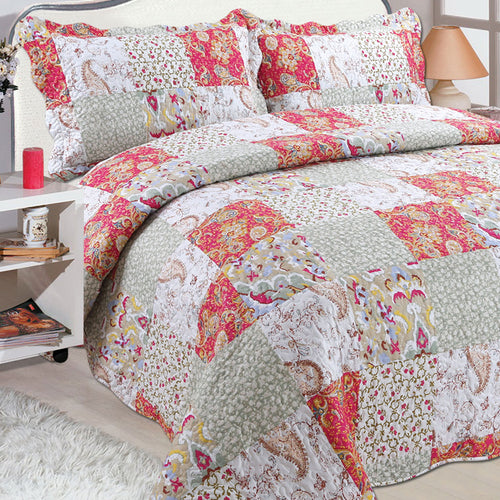 Microfibre Printed Quilt Set - Paisley Orange and Duck Egg - CQ Linen Quality Bedding