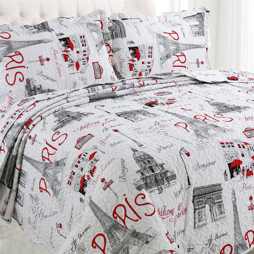 Microfibre Printed Quilt Set - Paris - CQ Linen Quality Bedding
