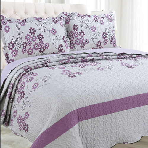 Microfibre Printed Quilt Set - Purple Flowers - CQ Linen Quality Bedding