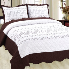 Load image into Gallery viewer, Luxury Microfibre Embroidered Quilt Set - Valencia (various colours) - CQ Linen Quality Bedding
