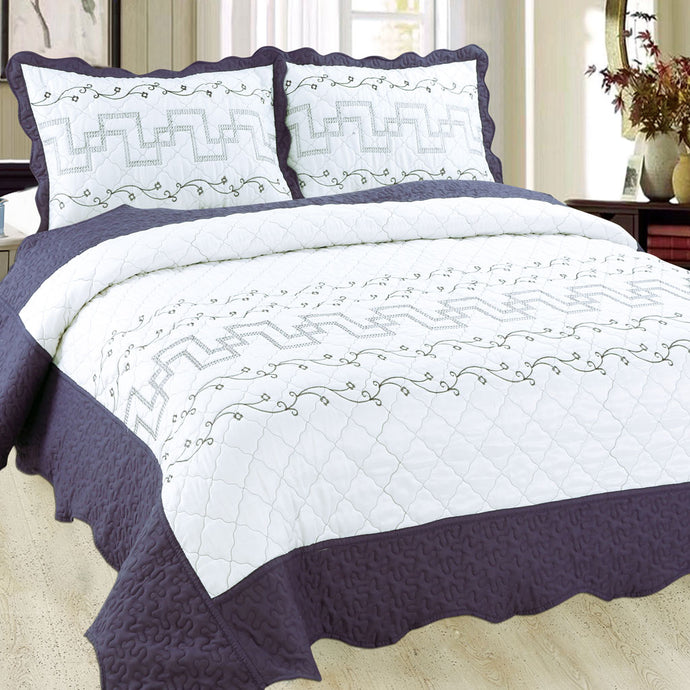 Luxury Microfibre Embroidered Quilt Set - Valencia (various colours) - CQ Linen