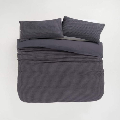 100% Cotton Percale Waffle Duvet Cover - CQ Linen Quality Bedding
