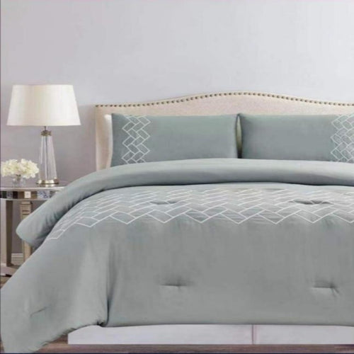 Microfibre Embroidered comforter set - Amelia - CQ Linen Quality Bedding