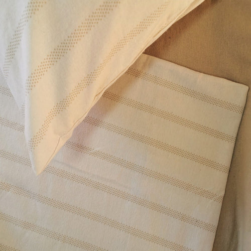 100% Brushed Cotton Winter Bale Set - Beige Stripes - CQ Linen Quality Bedding