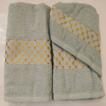 Load image into Gallery viewer, 3 Piece Luxury Towel Set - Duck Egg with Gold - CQ Linen Quality Bedding