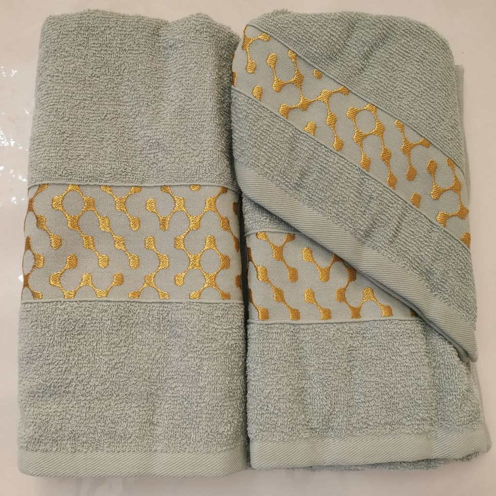 3 Piece Luxury Towel Set - Duck Egg with Gold - CQ Linen Quality Bedding