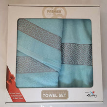 Load image into Gallery viewer, 3 Piece Luxury Towel Set - Blue with Grey Scroll - CQ Linen Quality Bedding