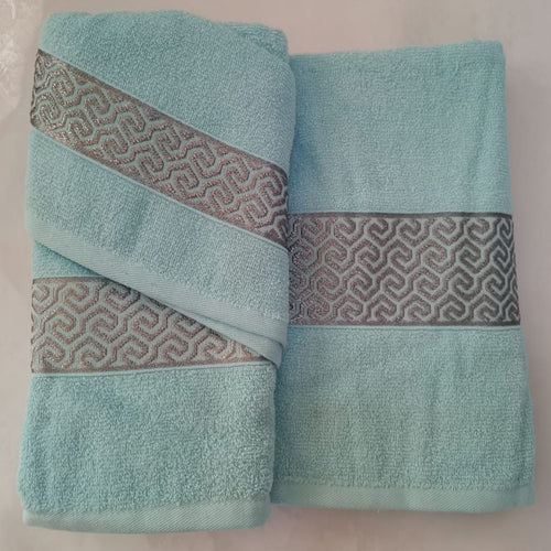 3 Piece Luxury Towel Set - Blue with Grey Scroll - CQ Linen