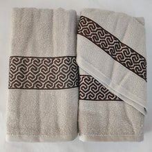 Load image into Gallery viewer, 3 Piece Luxury Towel Set - Latte with Brown Scroll - CQ Linen Quality Bedding