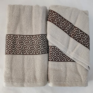 3 Piece Luxury Towel Set - Latte with Brown Scroll - CQ Linen Quality Bedding