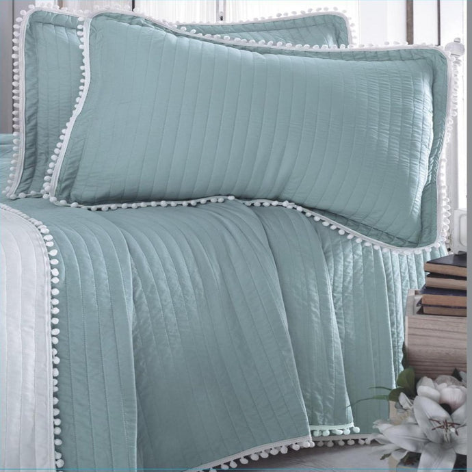 Luxury Soft Touch Pom Pom Quilt Set - CQ Linen