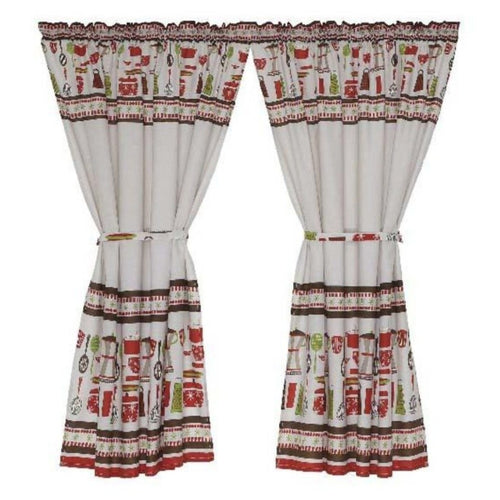2 Pack Coffee Pot Red Cafe Curtain - 110x120cm - CQ Linen Quality Bedding