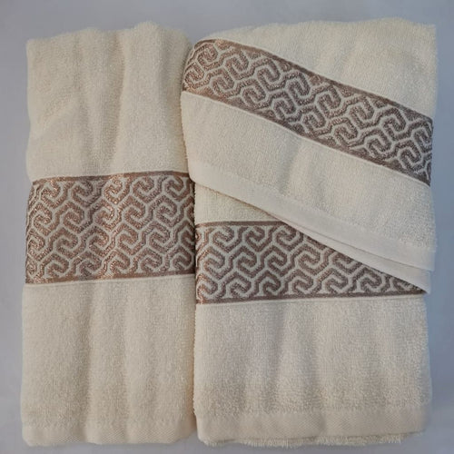 3 Piece Luxury Towel Set - Rich Cream with Gold Scroll - CQ Linen