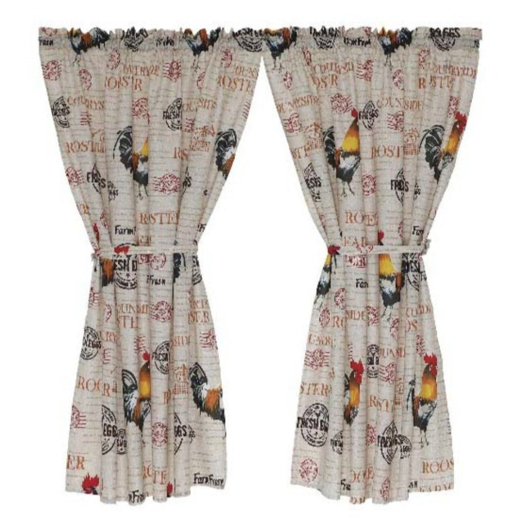 2 Pack Rooster Cafe Curtain - 110x120cm - CQ Linen