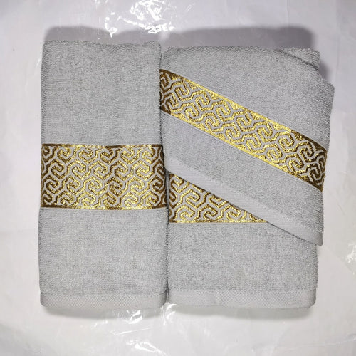 3 Piece Luxury Towel Set - Grey with Gold Scroll - CQ Linen Quality Bedding