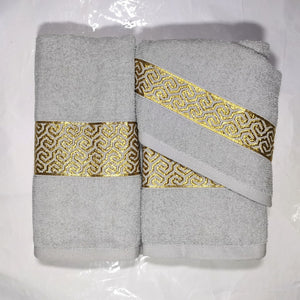 3 Piece Luxury Towel Set - Grey with Gold Scroll - CQ Linen