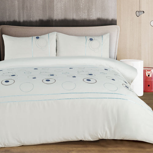Microfibre Embroidered Duvet Cover Set - Geo Circles - CQ Linen Quality Bedding