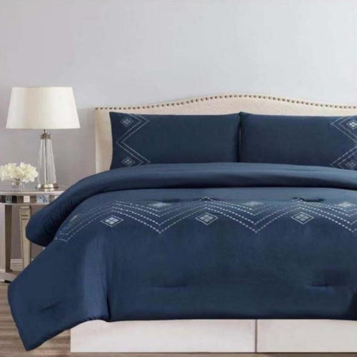 Microfibre Embroidered Comforter Set - Geo Diamond - CQ Linen Quality Bedding