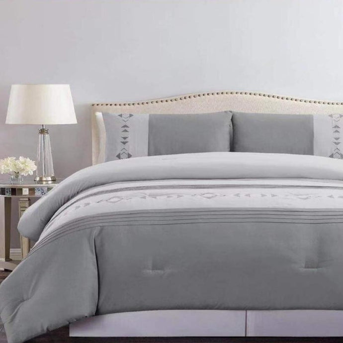 Microfibre Embroidered Comforter Set - Grey Mystique - CQ Linen Quality Bedding