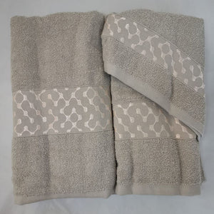 3 Piece Luxury Towel Set - Grey with Light Pink - CQ Linen