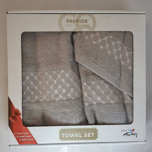 3 Piece Luxury Towel Set - Grey with Light Pink - CQ Linen Quality Bedding