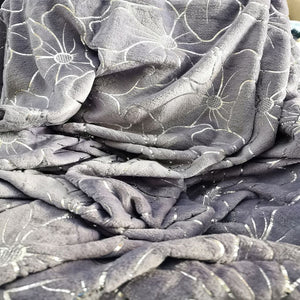 Flannel Metallic Printed Throw - light grey - CQ Linen Quality Bedding