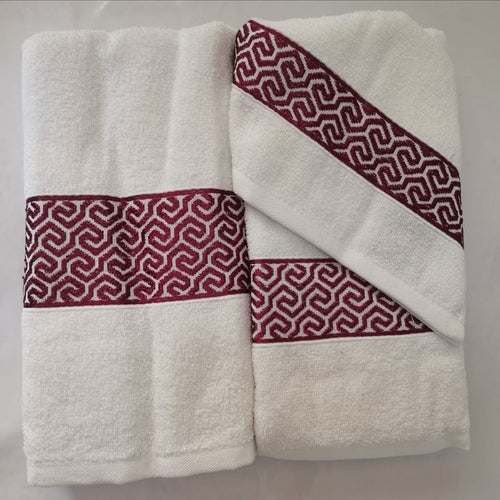 3 Piece Luxury Towel Set - White with Burgundy Scroll - CQ Linen