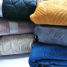 Load image into Gallery viewer, Quilt Blanket Velvet - Mustard - CQ Linen Quality Bedding