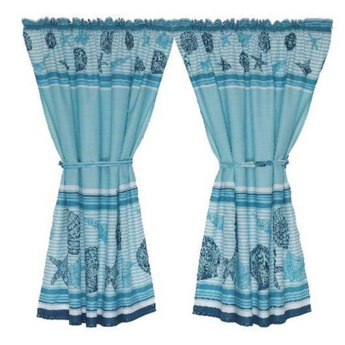 2 Pack Sea Shell Cafe Curtain - 110x120cm - CQ Linen