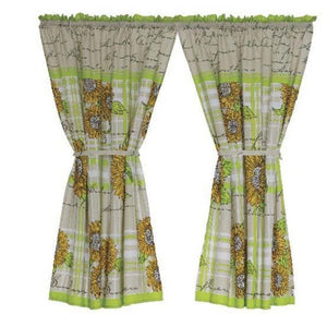 2 Pack Sunflower Cafe Curtain - 110x120cm - CQ Linen Quality Bedding