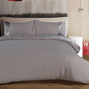 Soft Touch Embroidered Duvet Cover Set - Velvet Grey - CQ Linen