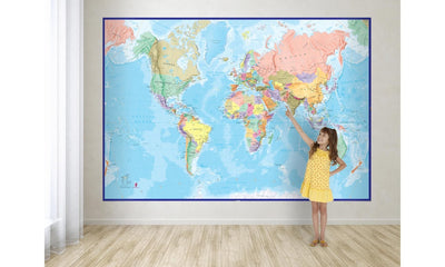 World Map Classic Mural 4-piece