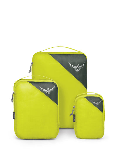 Ultralight Packing Cube Set Electric Lime 3 pakning stående