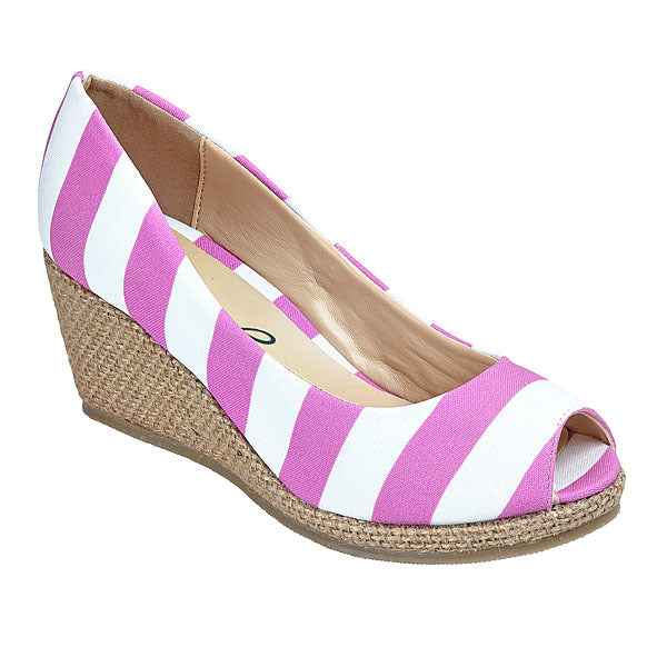 Bright Pink & White Wedges - Lillybee Style