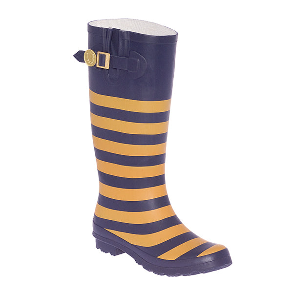 Dark Blue Vegas Gold & Striped Rainboots - Lillybee Style