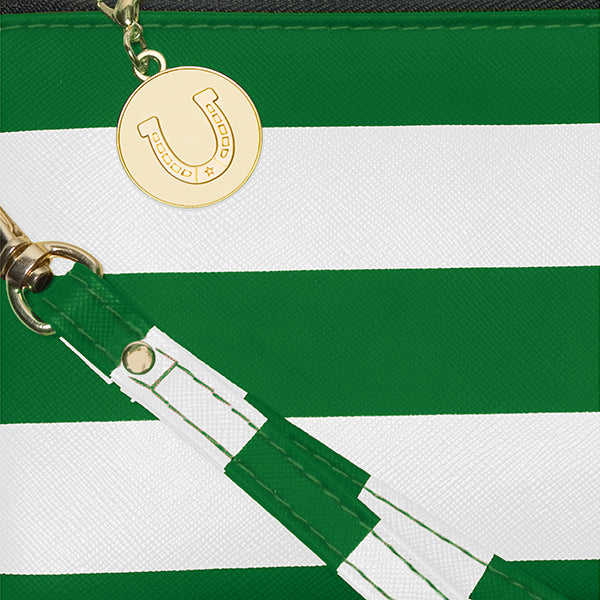 Kelly Green and White Wristlet