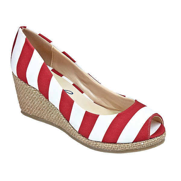 Crimson & White Wedges - Lillybee Style