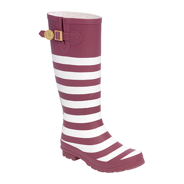 Maroon White & Striped Rainboots