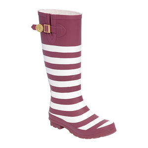 Maroon White & Striped Rainboots - Lillybee Style