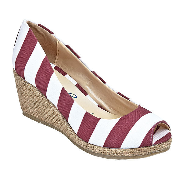 Maroon & White Wedges - Lillybee Style