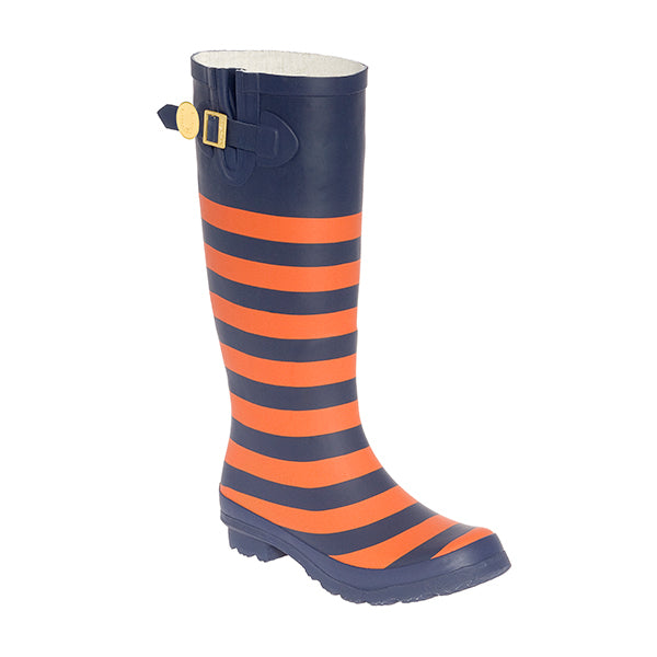 Dark Blue & Orange Striped Rainboots