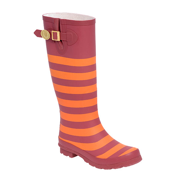 Maroon Orange & Striped Rainboots - Lillybee Style