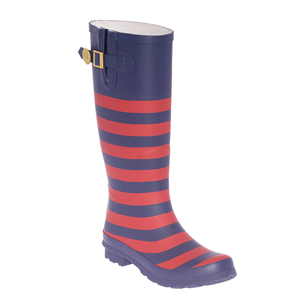 Dark Blue & Red Striped Rainboots