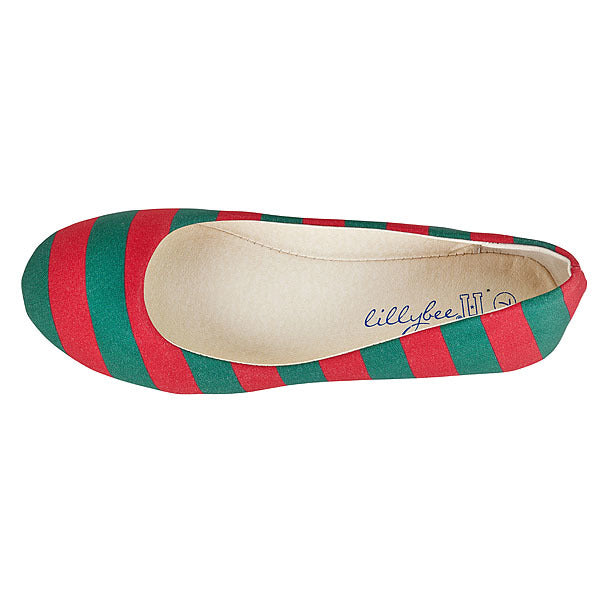 Dark Green & Red Flats - Lillybee Style