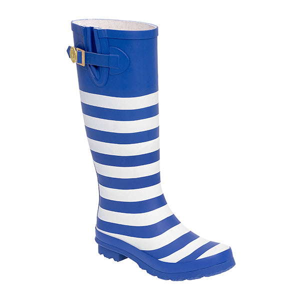 Royal Blue White & Striped Rainboots - Lillybee Style
