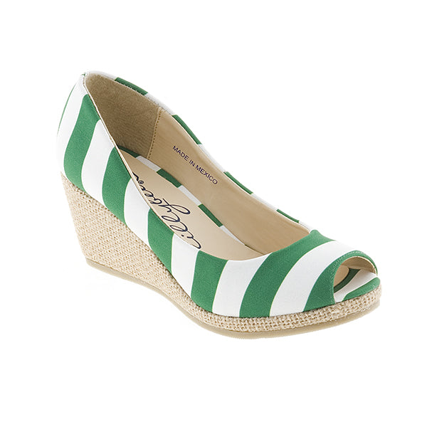 Kelly Green and White Wedge