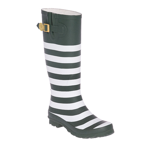 Dark Green White & Striped Rainboots