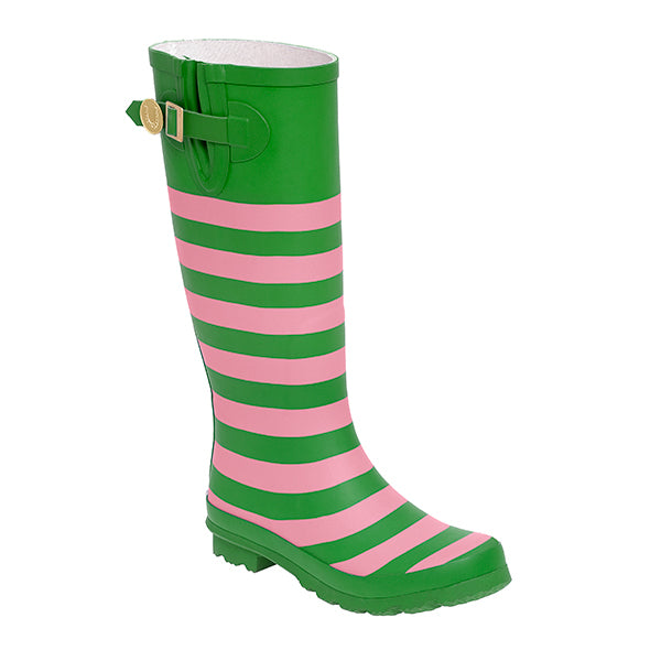 Pink & Green Striped Rainboots - Lillybee Style